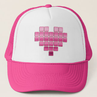 pink glitter heart trucker hat