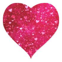 Pink Glitter Hearts Pattern Heart Sticker