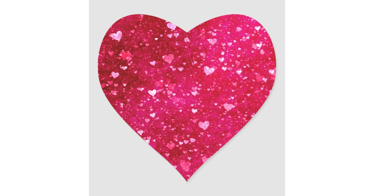 Pink Glitter Hearts Pattern Heart Sticker Zazzle Com
