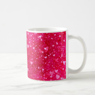 Pink Glitter Hearts Pattern Classic White Coffee Mug
