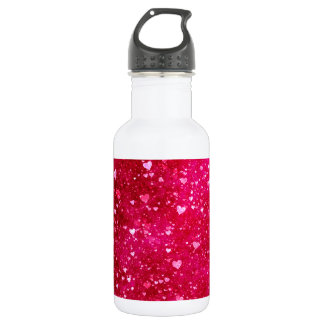 Pink Glitter Hearts Pattern Stainless Steel Water Bottle