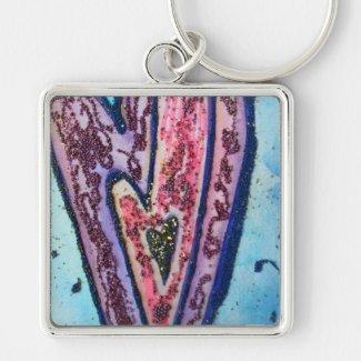 Pink Glitter Hearts Pendant Art Charm Keychains