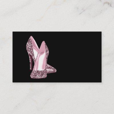 Pink high heel stiletto shoe damask business card zazzle maxwellsz