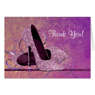 Pink Glitter HIgh Heel Shoe Thank You Stationery Note Card