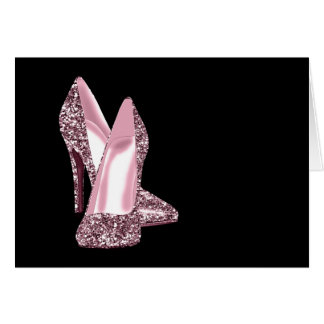 Pink Glitter High Heel Shoe Thank You Cards Note Card
