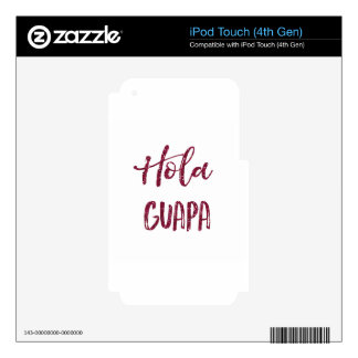 Pink Glitter Hola Guapa Decals For iPod Touch 4G