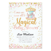 Pink Glitter Horse Carousel Baby Shower Invitation