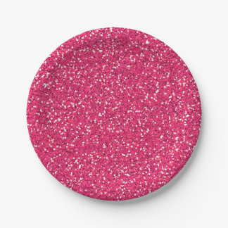 Pink Glitter Image Custom Party Paper Plate