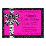 "Pink Glitter Invite With Zebra Print Bow 5"" X 7"" Invitation Card"