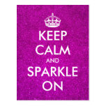 Pink glitter Keep calm and sparkle on postcards