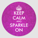 Pink glitter Keep calm and sparkle on stickers