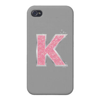 Pink Glitter letter K iPhone 4 Covers