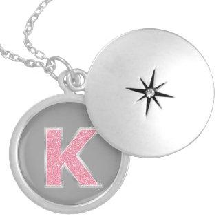 Pink Glitter letter K Round Locket Necklace