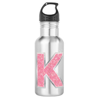 Pink Glitter letter K Stainless Steel Water Bottle