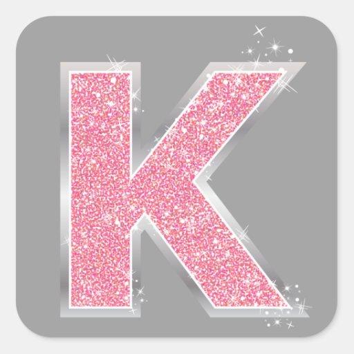 K Letter Images In Pink Pink Glitter letter K Stickers
