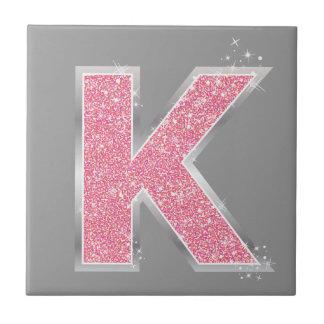 Pink Glitter letter K Tile