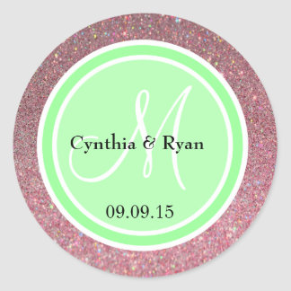 Pink Glitter & Light Lime Green Wedding Monogram Classic Round Sticker