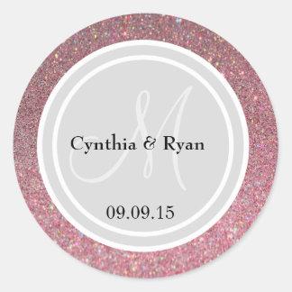 Pink Glitter & Light Silver Wedding Monogram Seal