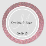 Pink Glitter & Light Silver Wedding Monogram Seal Classic Round Sticker