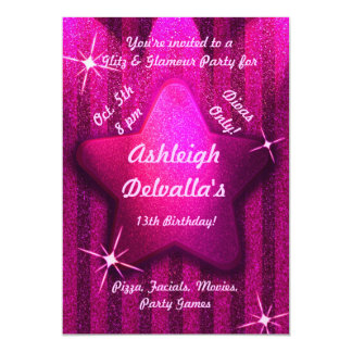 Pink Glitter-Like Star Birthday Party Invitations