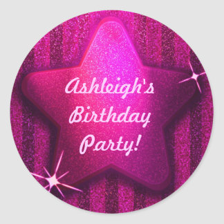 Pink Glitter-Like Star Birthday Party Stickers