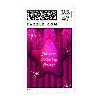 Pink Glitter-Like Star Birthday Postage Stamps