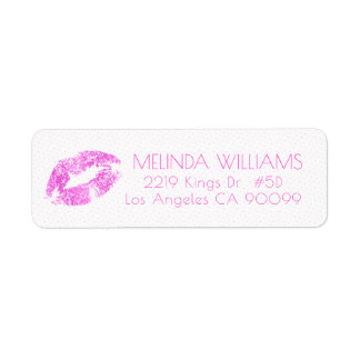Pink Glitter Lips & Dots Pattern Label