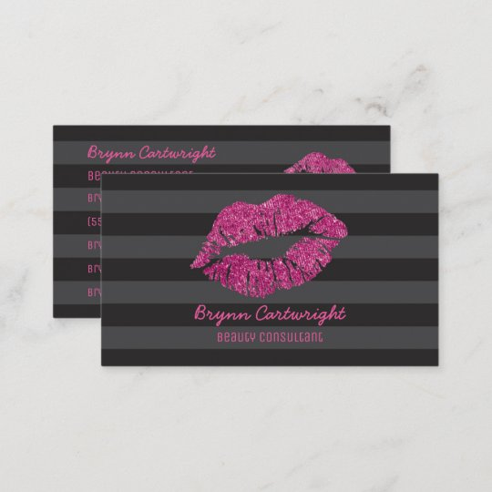 Pink Glitter Lips Makeup Beauty Consultant Glamour Business Card