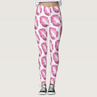 Pink Glitter Lips Modern White Leggings