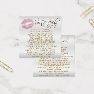 Pink Glitter Lips On White - How to Apply Square Business Card