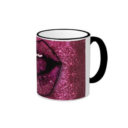 Pink Glitter Lips Ringer Coffee Mug