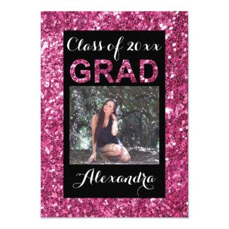 Pink Glitter-Look 1 Photo Graduation Card