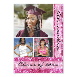 Pink Glitter-Look 3 Photo Graduation Card