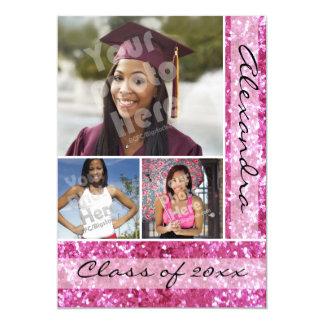 Pink Glitter-Look 3 Photo Graduation 5x7 Paper Invitation Card