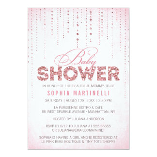 Pink Glitter Look Baby Shower Invitation