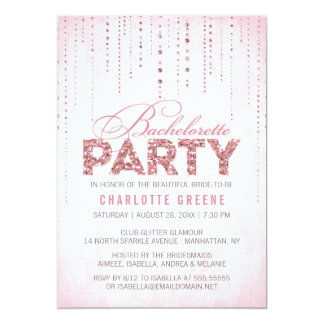Pink Glitter Look Bachelorette Party Invitation