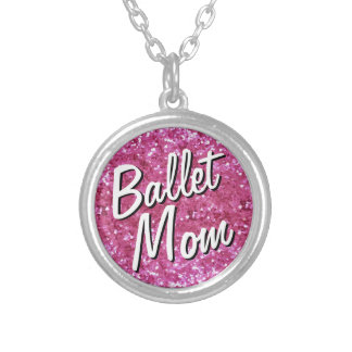 Pink Glitter-Look Ballet Mom Necklace