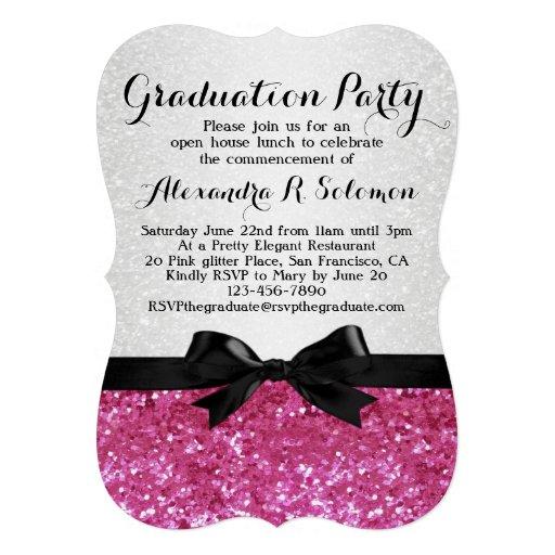Pink Glitter-look Bow Graduation Party Invitation