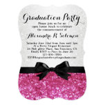 Pink Glitter-look Bow Graduation Party Invitation