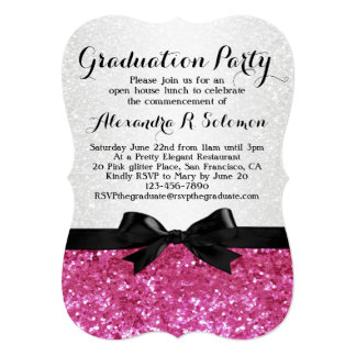 "Pink Glitter-look Bow Graduation Party Invitation 5"" X 7"" Invitation Card"