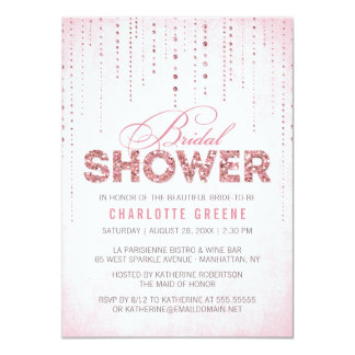 """Pink Glitter Look Bridal Shower - 4.5"""" x 6.25"""" 4.5x6.25 Paper Invitation Card"""