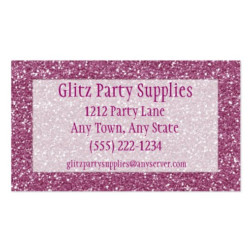 Pink glitter look business card customizable