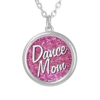Pink Glitter-Look Dance Mom Necklace