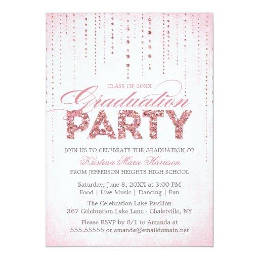 Pink Glitter Look Graduation Party Invitation