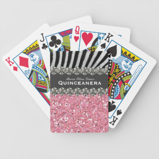 Pink Glitter Look Quinceanera Personalized Bicycle Playing Cards