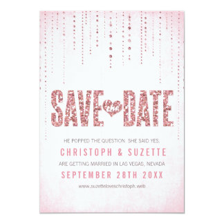 Pink Glitter Look Save The Date Card