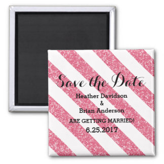Pink Glitter Look Stripes Save the Date Magnet