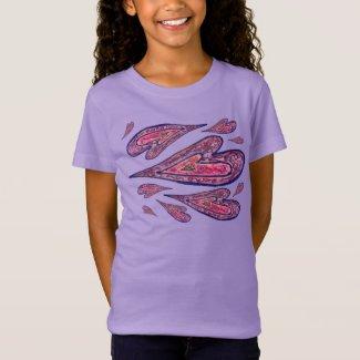 Pink Glitter Love Hearts Art Custom T-shirts