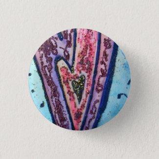 Pink Glitter Love Hearts Art Lapel Pin Buttons