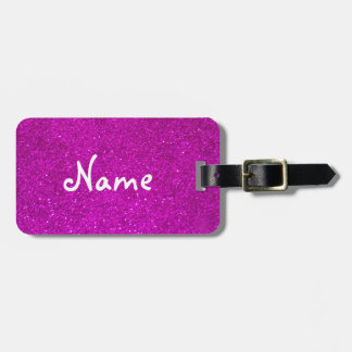 Pink glitter luggage tag with faux shiny glimmers